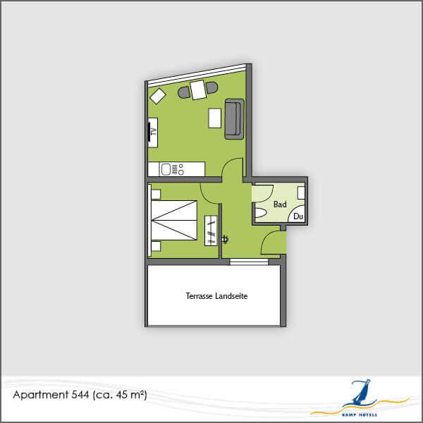 Aparthotel Grundriss Apartment 544