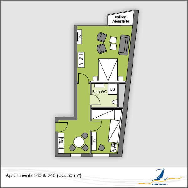 Aparthotel Grundriss Apartments 140 240