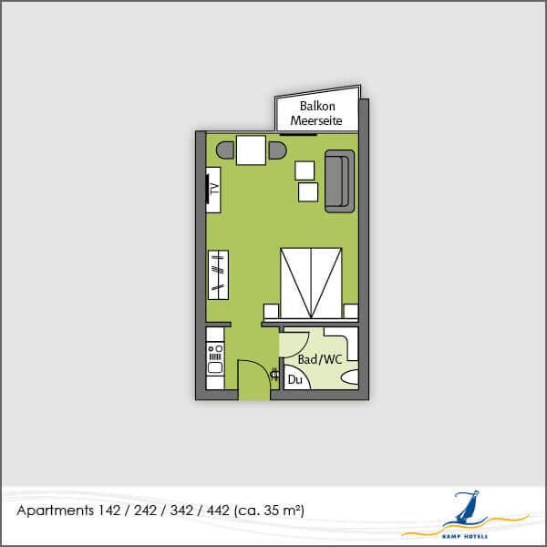 Aparthotel Grundriss Apartments 142 242 342 442