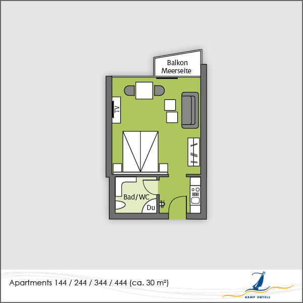 Aparthotel layout apartments 144 244 344 444