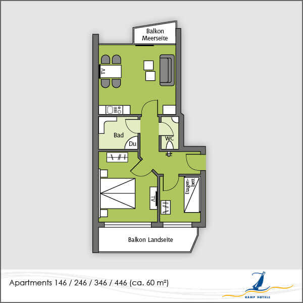 Aparthotel layout apartments 146 246 346 446