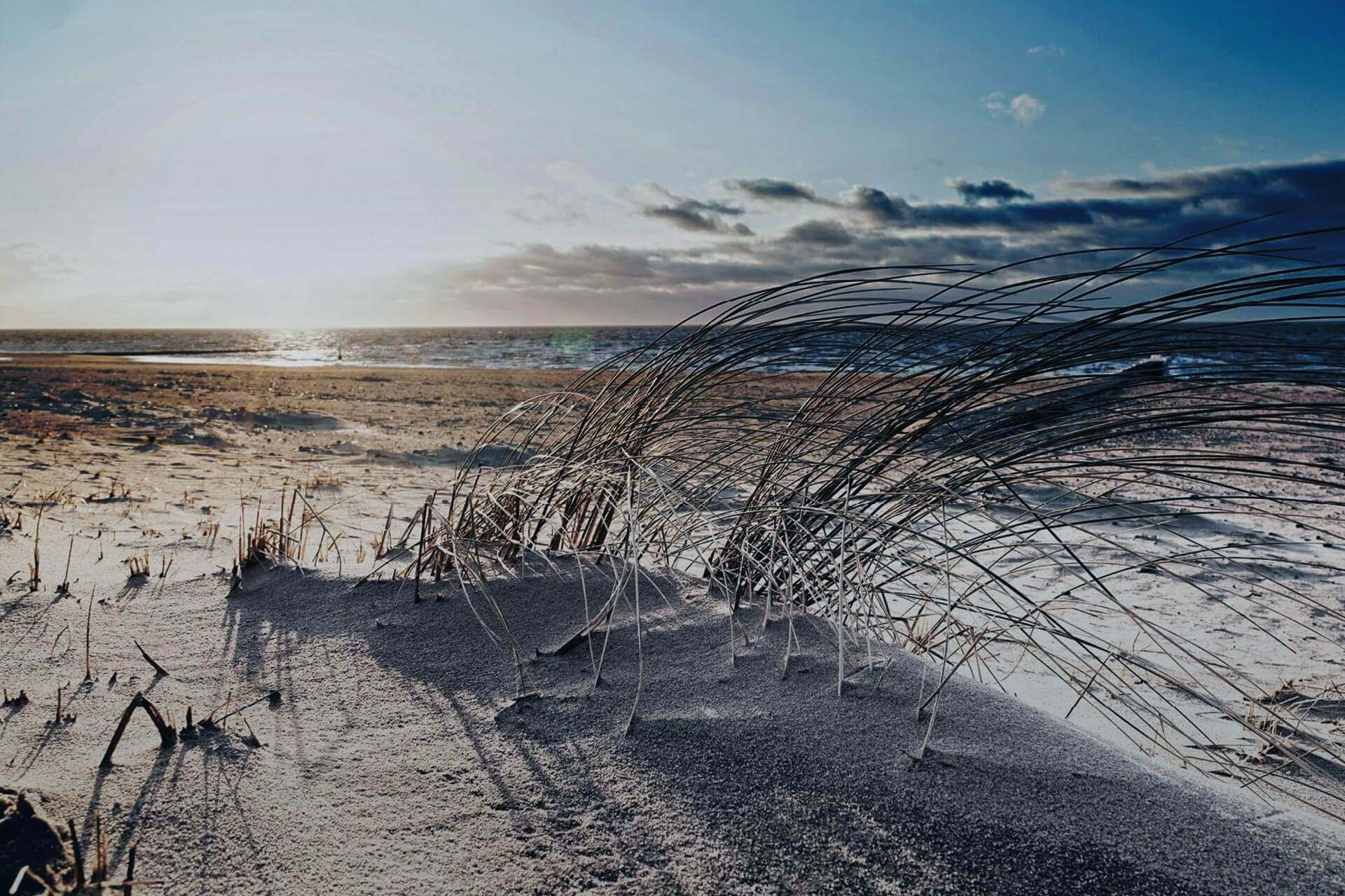 Sandstrand mit tiefer Sonne